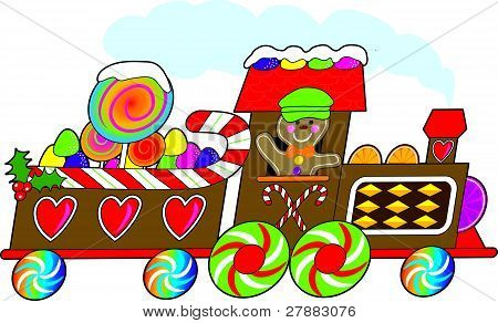 Picture or Photo of A gingerbread train with a smiling gingerbread engineer is loaded with candy canes, gum drops and lollipops and rushing towards the Christmas season.