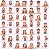 Collage Of Emotions. Different Emotions. Emotion Set Of Pretty Girl And Bearded Man. Feeling And Emo poster