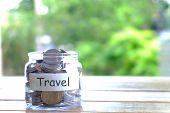 Travel Budget Concept. Travel Money Savings Concept. Collecting Money In Moneybox For Travel. Money poster