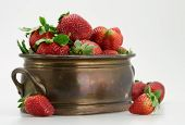 Fresh Strawberry In Brassy Tub