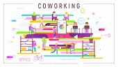 Coworking Space Concept - Young Cartoon People Working In Creative Office And Co-working Center. Vec poster
