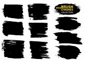 Vector Make-up Cosmetic Mascara Brush Stroke Texture Design. Large Set Different Grunge Brush Stroke poster