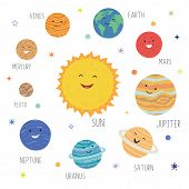 Cute Planets With Funny Smiling Faces. Solar System With Cute Cartoon Planets. Funny Universe For Ki poster
