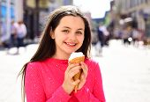 Pure And Sweet Cream. Pretty Girl Hold Ice Cream Cone On Summer Day. Cute Girl Smiling With Ice Crea poster