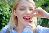 For A Beautiful And Healthy Smile. Sensual Woman With White Smile. Happy Woman Hold Cherry Berries I poster