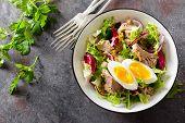Tuna Salad In Bowl. Mediterranean Food. Fresh Salad With Canned Tuna Fish. Healthy Diet Food poster