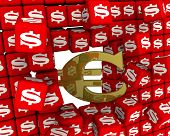 The European Currency Defeated The American Dollar. The Gold Symbol Of The European Union Currency B poster