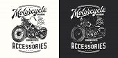 T-shirt Or Poster Design With An Illustration Of An Old Motorcycle. Design With Text Composition On  poster