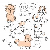 Set Of Cute Handdrawn Dogs Line Illustrations Isolated On White With Speed Bubbles And Hearts. Cute  poster