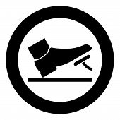 Foot Pushing The Pedal Gas Pedal Brake Pedal Auto Service Concept Icon Black Color Vector Illustrati poster