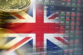 Stock Market Investment Trading Financial, Coin And England Flag Or Forex For Analyze Profit Finance poster