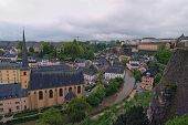 Beautiful Skyline Of Old Town Luxembourg City From Top View In Luxembourg. Abbaye St. John Neimenste poster