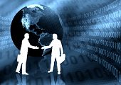 image of ebusiness  - Two business man doing business handshake in Virtual Ebusiness world - JPG