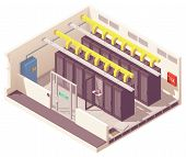 Vector Isometric Server Room Or Data Center With Server Racks And Air Conditioning System And Card R poster