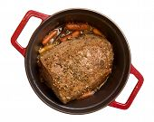 Beef Pot Roast With Baby Carrots Isolated On White