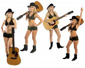 stock photo of string bikini  - Collection of four poses of a sexy young cowgirl in a hat - JPG