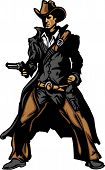 stock photo of vaquero  - Graphic Mascot Vector Image of a Cowboy Shooting Pistol - JPG