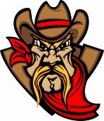 picture of vaquero  - Graphic Mascot Vector Image of a Cowboy Shooting Pistols - JPG