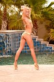 Sexy young bikini model with golden blonde hair wearing a gold swimsuit and high heel shoes in front of a pool fountain