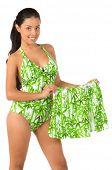 picture of monokini  - Beautiful Mexican bikini model isolated over white - JPG