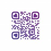 Vector Illustration Of I Love You Qr Code In Purple Color With Hearts On White Background. Can Be Us poster