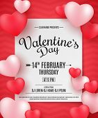 Valentines Day Party Flyer. 3D Hearts On A Red Background With Pattern. Romantic Composition. Festi poster