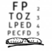 Eyeglasses in front of an optical chart