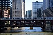 El Train Crossing Over The Chicago River On Lake Street Bridge, Chicago, Illinois, Usa poster