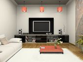 stock photo of home theater  - Modern room witn home theater 3D rendering - JPG