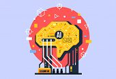 Ai, Artificial Intelligence Icon Concept, Brain With Electronic Neurons. Flat Vector Illustration. A poster