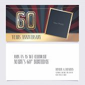60 Years Anniversary Invitation Vector Illustration. Graphic Design Element With Photo Frame For 60t poster