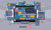 Mobile Video Editor Flat Vector Concept. Motion Design Studio, Video Editor App, Creating Video Onli poster