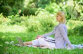 Business Lady Freelance Work Outdoors. Remote Job Concept. Managing Business Remote Outdoors. Woman  poster