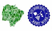 Vector Collage Of Wine Map Of Mato Grosso Do Sul State And Best Grape Wine Grunge Seal. Map Of Mato  poster