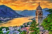 Church Of Our Lady Of Remedy In Kotor At Sunset. Montenegro - Balkans, Europe poster