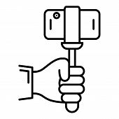 Smartphone In Selfie Stick Icon. Outline Smartphone In Selfie Stick Vector Icon For Web Design Isola poster