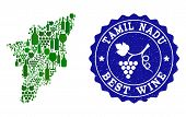Vector Collage Of Wine Map Of Tamil Nadu State And Best Grape Wine Grunge Seal Stamp. Map Of Tamil N poster