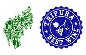 Vector Collage Of Wine Map Of Tripura State And Best Grape Wine Grunge Seal Stamp. Map Of Tripura St poster