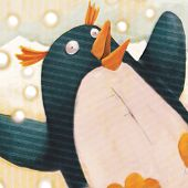 close up penguin  (illustration or Christmas Card design)
