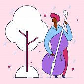 Modern Cartoon Flat Character Musical Band Double Bass Bassist, Vector Hand Drawn Style.musician Man poster