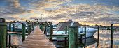 Harbor With Boats At Golden Hour As Day Breaks Over The North Gulf Shore Harbor poster