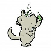 wolf gargling mouthwash cartoon