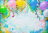 Festival, carnival or birthday party frame with balloons, streamers and confetti on colorful backgro poster