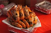 Shrimp Burnt In The Aluminium Foil Tray, Street Food In Thailand poster