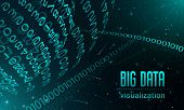 Big Data Visualization Banner. Realistic Illustration Of Big Data Visualization Banner For Web Desig poster