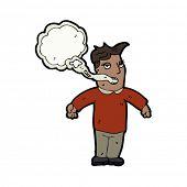 homem com desenhos animados de respiração de fumantes