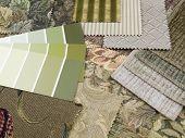 Green And Beige Print Interior Decoration Plan