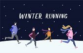 People Running Together Outside In Winter Cold Season. Handdrawn Vector Illustration With Winter Run poster