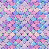 Mermaid Fish Scale Wave Japanese Magic Seamless Pattern. Watercolor Hand Drawn Bright Colorful Backg poster