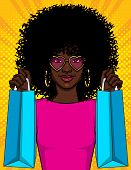 Color Vector  Pop Art Style  Illustration Of A Girl With Packages.  Beautiful Young African American poster